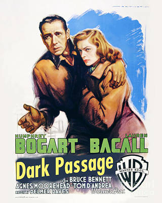 Vintage Photograph - Dark Passage Movie Poster Bogart And Bacall by MMG Archive Prints
