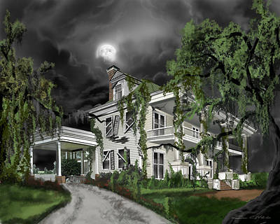 Scotland Painting - Dark Plantation House by James Christopher Hill