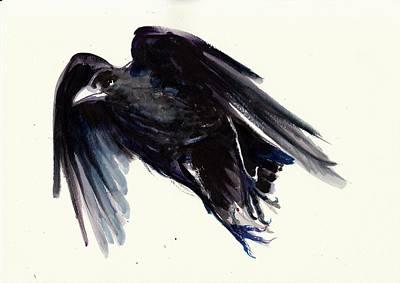 Leinwand Painting - Dark Raven In Flight - Crow Flying by Tiberiu Soos