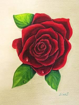 Dark Red Rose Art Print