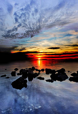 Art Print featuring the photograph Dark Red Sunset Reflection Transparent Blue Sea Black Clouds Art by Eszra
