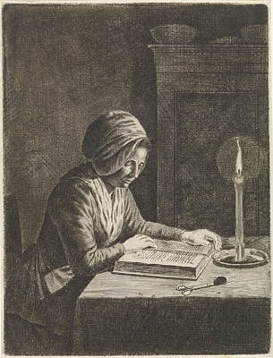 Candle Lit Drawing - Dark Room With Woman Reading, Johannes Christiaan Janson by Johannes Christiaan Janson
