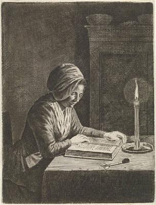 Dark Room With Woman Reading, Johannes Christiaan Janson Art Print by Johannes Christiaan Janson