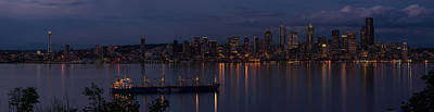 Skylines Royalty-Free and Rights-Managed Images - Dark Seattle Dusk Panorama by Mike Reid
