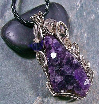 Heather Jordan Jewelry - Dark Silver Amethyst Druzy Geode Steampunk Pendant by Heather Jordan