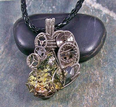 Heather Jordan Jewelry - Dark Silver Steampunk Bismuth Crystal Pendant by Heather Jordan
