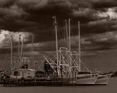 Shrimp Boat Photograph - Dark Skies by Barry Jones