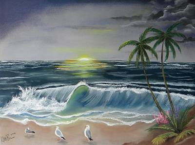 Dark Skies On The Beach Art Print