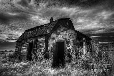 White Barn Photograph - Dark Skies On The Prairie by Dan Jurak