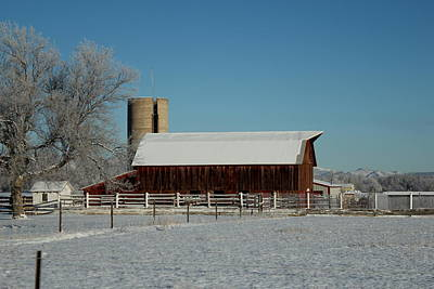 Photograph - Dark Snowy Barn by Trent Mallett