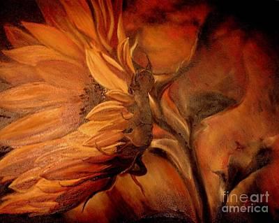 Art Print featuring the painting Dark Sunflower by Sorin Apostolescu