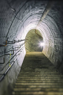 Dark Tunnel And Staircase Print by Russ Dixon