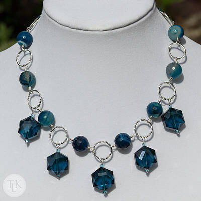 Sterling Silver Photograph - Dark Turquoise Crystal And Faceted Agate Necklace 3676 by Teresa Mucha