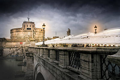 Photograph - Dark Winter Evening At Castel Sant'angelo - Rome by Mark E Tisdale