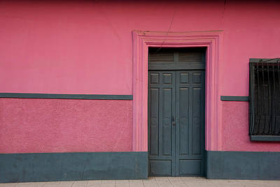 Photograph - Dark Wooden Closed Door And Pink Wall by Anknet