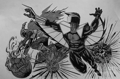Spider Man Drawing - Darkhawk Vs Hobgoblin Greyscale by Justin Moore