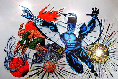 Dc Comics Drawing - Darkhawk Vs Hobgoblin by Justin Moore