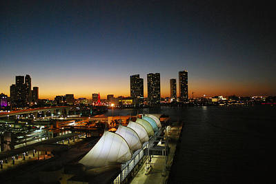 Photograph - Darkness Falls On Port Of Miami by Gary Wonning