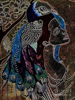 Darkside Peacock Woman Art Print by Amy Sorrell