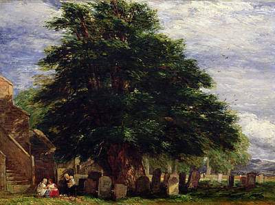 Headstones Painting - Darley Churchyard by David Cox