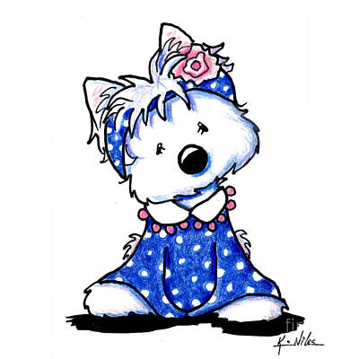 Westie Terrier Drawing - Darling In Dots  by Kim Niles