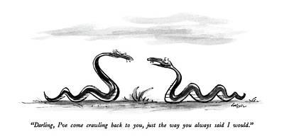 Darling, I've Come Crawling Back Art Print by Lee Lorenz