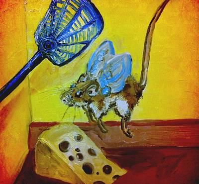 Darn Mouse Flies On Swiss Art Print