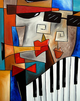 Dog Abstract Art Painting - Darned Tootin - Original Cubist Art By Fidostudio by Tom Fedro - Fidostudio