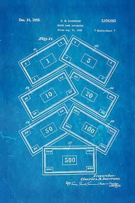 Monopoly Photograph - Darrow Monopoly Board Game 2 Patent Art 1935 Blueprint by Ian Monk