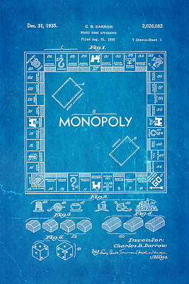 Monopoly Photograph - Darrow Monopoly Board Game Patent Art 1935 Blueprint by Ian Monk