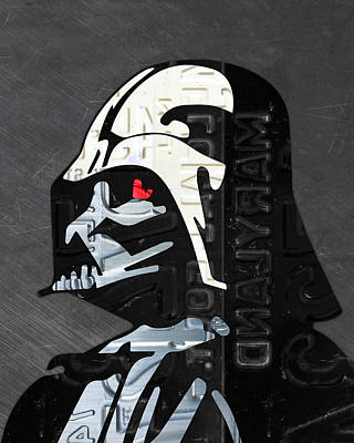 Darth Vader Helmet Star Wars Portrait Recycled License Plate Art Art Print