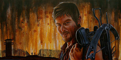 The Walking Dead Painting - Daryl by Marlon Huynh