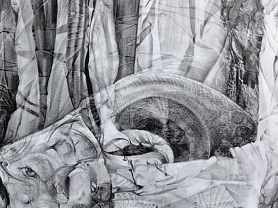 Das Monster Hat Sich Im Ungebuegelten Hintergrund Versteckt Art Print