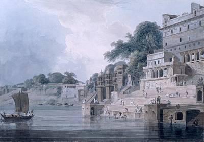 Varanasi Drawing - Dasasvamedha Ghat, Benares, Uttar by Thomas & William Daniell