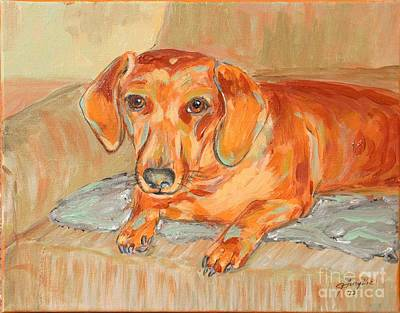 Art Print featuring the painting Daschund Portrait by Jeanne Forsythe