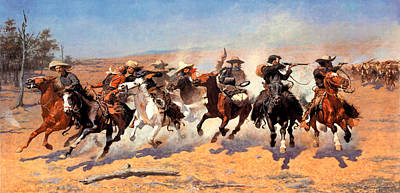 Dash For The Timber Art Print by Frederic Remington