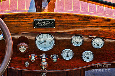 Dashboard In A Classic Wooden Boat Art Print by Les Palenik