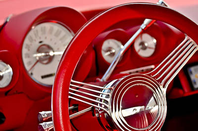 Photograph - Dashboard Red Classic Car by Carolyn Marshall