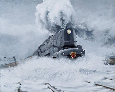 Railroads Painting - Dashing Through The Snow by David Mittner