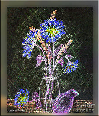 Flower Still Life Mixed Media - Dasies In The Dark by Debbie Portwood