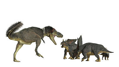 Daspletosaurus Attacking A Group Art Print