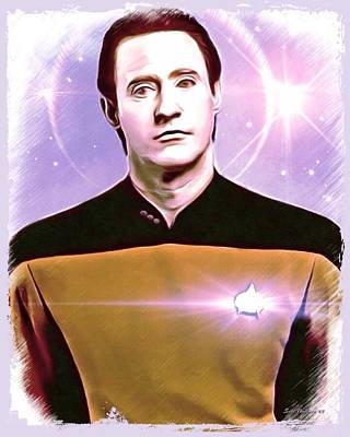 Data Star Trek Portrait Art Print
