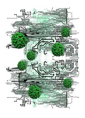 Data Virus Art Print by Victor Habbick Visions