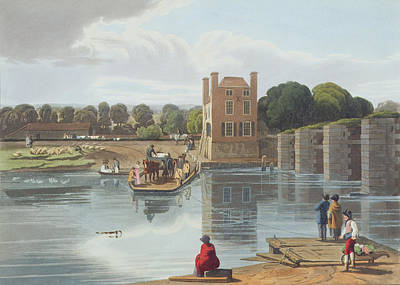 Horse And Cart Drawing - Datchet Ferry, Near Windsor, Engraved by William Havell