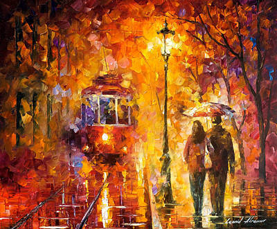 Date By The Trolley - Palette Knife Oil Painting On Canvas By Leonid Afremov Original by Leonid Afremov