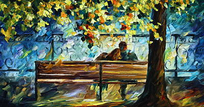 Gentlemen Painting - Date On The Bench by Leonid Afremov