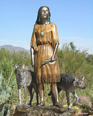 Bronze Sculpture - Daughter Who Walks With Wolves by J Anne Butler