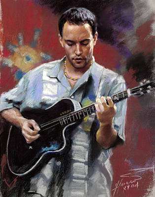 Art Print featuring the drawing Dave Matthews by Viola El
