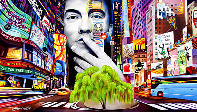 City Scenes Painting - Dave Matthews Dreaming Tree by Joshua Morton