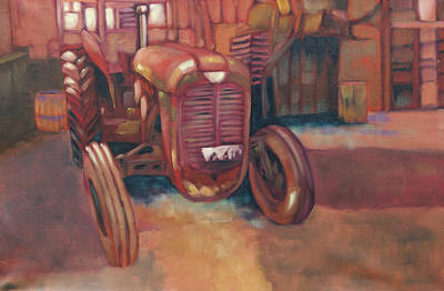Dave Hancock Painting - Little Red Tractor by Dave Hancock